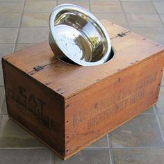 Wooden Crate Dog Bowl Upcycle Wooden Crates