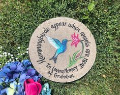 """HUMMINGBIRD Memorial Stone, Memorial Gift, Memorial Gifts, Garden Memorial Stone, Blue Hummingbird, 12"""", Sympathy Gift by samdesigns22 on Etsy Retirement Gifts For Women, Wedding Gifts For Parents, Great Wedding Gifts, Memorial Garden Stones, Bereavement Gift, Wedding Ornament, Sympathy Gifts, White Gift Boxes, Memorial Gifts"""