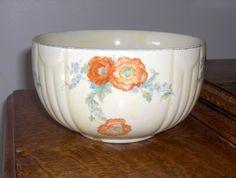 "Vintage Hall's Pottery 6"" Bowl Orange Poppy w Blue Flowers Kitchenware | eBay"