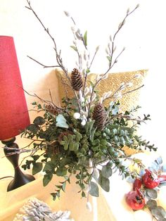 Winter Floral:  Branches Pussywillow Boxwood and by FloralsAndFlair, $85.00