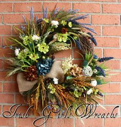 Summer Coastal Wreath, Irish Beach Wreath, Donegal Ireland Coast,  Rustic Ireland Wreath, Coastal Floral, Teal, Irish Floral Swag