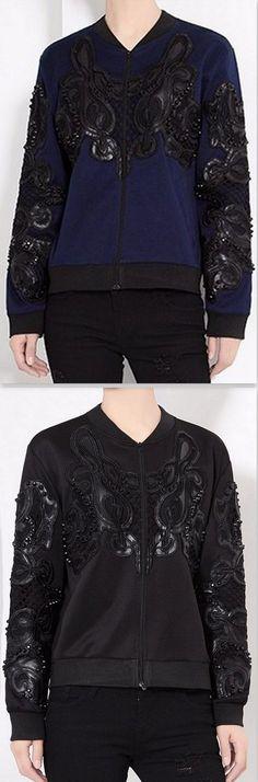 Applique Embellished Bomber Jacket in Blue or Black