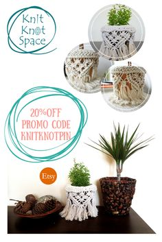 http://www.etsy.com/shop/knitknotspace Macrame Plant Pot Holder. Bohemian Home Decor.  At Knit Knot Space we offer handmade knitted accessories and macrame home decor. Follow us on Instagram, Twitter and Facebook - @KnitKnotSpace to get to know us better.