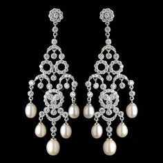 Rhodium CZ Crystal & Freshwater Pearl Chandelier Earrings 4704