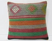 HANDWOVEN western kilim pillow cover bluish throw pillow couch decorative couch pillow moroccan floor cushion red bohemian pillow case 19789