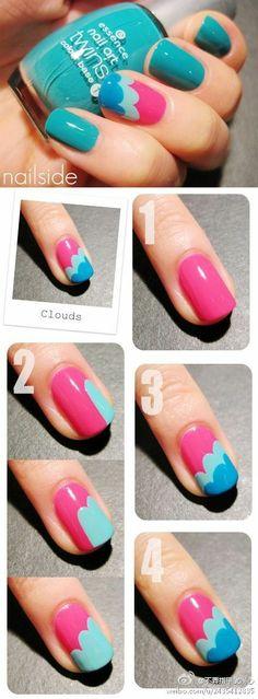 Summery cloud nails. Love! #polish