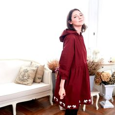 Deer Hooded Fit & Flare Dress (woman) Burgundy / Navy - Bunny n Bloom-Dress Designer Brand - One Piece Dresses One Piece Dress, I Dress, Mommy Daughter Matching Dresses, Hooded Dress, Fit Flare Dress, Cotton Dresses, Casual Wear, Designer Dresses, Hoods