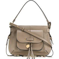 See By Chloé Olga saddle bag (£355) ❤ liked on Polyvore featuring bags, handbags, shoulder bags, grey, boho shoulder bag, gray purse, ruffle purses, tassel purse and see by chloe handbags