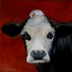 Canvas Cow Art Reproduction Print of Bach from Original Oil Painting by Cheri Wollenberg