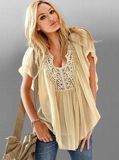 Embroidered Blouse, a breezy boho-chic blouse in Natural Look Fashion, Fashion Outfits, Womens Fashion, Fasion, Latest Fashion, Mode Style, Style Me, Modelos Victoria Secret, Boho Chic