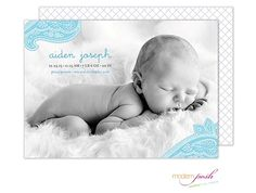 It's  Boy! Announce your baby's arrival with our adorable Paisley Baby Boy Photo Birth Announcement with gray and white modern pattern on the back. Use color or black and white photo. From Little Angel Announcments