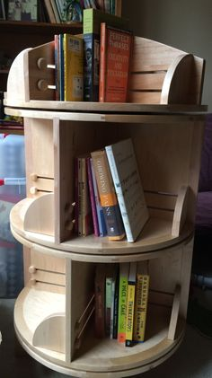 Three-tier rotating book case, made by my father-in-law. Revolving Bookcase, Kid Decor, Home Decor, Quilting Room, Cozy Nook, Diy Stuff, Shop Ideas, Chronic Illness, Bookshelves