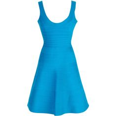 Rental Hervé Léger Turquoise Eva Dress ($145) ❤ liked on Polyvore featuring dresses, blue, turquoise bandage dress, turquoise blue dress, hervé léger, full skirt и scoop neck dress