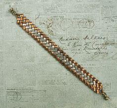 Linda's Crafty Inspirations: Bracelet of the Day - Half Tila Herringbone - Bronze & Grey