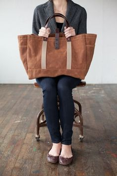 Handmade in Omaha - Waxed Cotton Tote from Artifact Bag Co.
