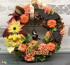 Boszorkányfejes halloween - ajtódísz, kopogtató, dekoráció (AKezmuvescsodak) - Meska.hu Halloween, Wreaths, Home Decor, Decoration Home, Door Wreaths, Deco Mesh Wreaths, Interior Design, Garlands, Home Interior Design