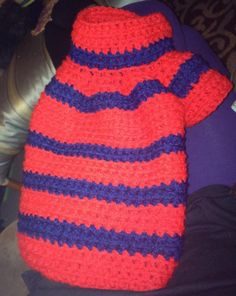 Red and blue crochet dog sweater