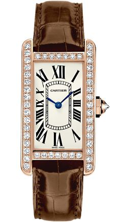 Buy our magnificent Cartier Tank Americaine Small Model Diamond Pink Gold Case Brown Alligator Leather Strap Womens Watch Lux Watches, Cartier Watches, Cartier Santos, All Black Outfits For Women, Cartier Tank Americaine, Brand Name Watches, Cartier Panthere, Gold Diamond Watches, Top Luxury Brands