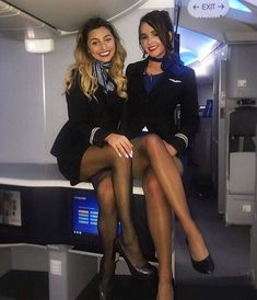 Stewardess taking a break. Airline Uniforms, Professional Wear, Cabin Crew, In Pantyhose, Nylons, Flight Attendant, Black Tights, Sexy Legs, Sexy Women
