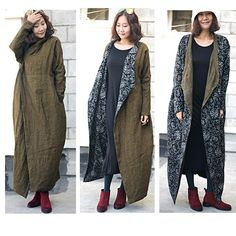 Boho Style long coat dress Linen 2 face wear for tall womens clothing( B347)