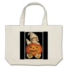 #Vintage Little Girl with Big Halloween Pumpkin Large Tote Bag - #Halloween happy halloween #festival #party #holiday