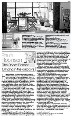 The Room Planner, Paula Robinson Rossouw's column in the Sunday Telegraph: Bringing in the outdoors www.paularobinsonrossouw.com
