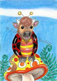 lady bug Buffalo aceo EBSQ Kim Loberg Mini art Fantasy insect Mushroom ferns #IllustrationArt