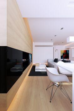 salas integradas; iluminação indireta; preto + branco + madeira clara;
