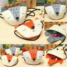 Children Practical Shoulder Messenger Mini Cute Fox Felt Fabric Coins Keys Crossbody Handbag Purse