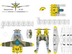 flyable 4D paper model template of Messerschmitt me 109. most produced German fighter. #4dpa