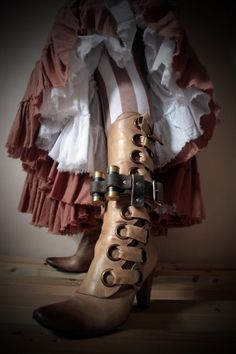Unisex Leather Boot Garter, 2 containers from shotgun shells - Brown - steampunk