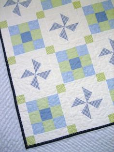 Ryan Blue and Green Seersucker and Gingham Crib Quilt by mavynm, $130.00