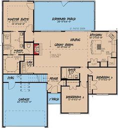 I like this layout, a lot. 3 Bed Southern Traditonal House Plan With Bonus Over Garage - Southern House Plans, Ranch House Plans, Best House Plans, Dream House Plans, Small House Plans, House Floor Plans, The Plan, How To Plan, Bedroom Layouts
