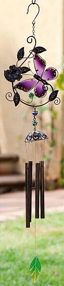 Butterfly Wind Chime, Purple Glass Wings