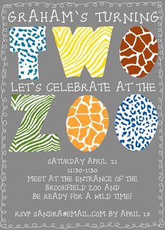Zoo Birthday Party Invitation Digital File - Boy or Girl. $12.00, via Etsy.