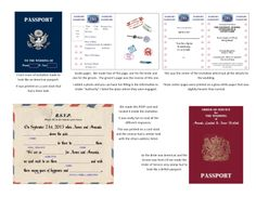 My son (British) and his Bride (American) decided on a travel theme for their wedding so together we designed a wedding invitation that looked like an American Passport and an Order of Service looked like a British passport.  The reply cards were an airmail letter.  We were all really happy with the result