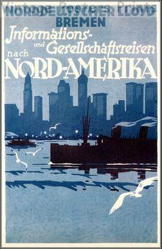 Nord Deutscher Lloyd 1928  Bremen North Americahttp://stores.ebay.com/Vintage-Poster-Prints-and-more