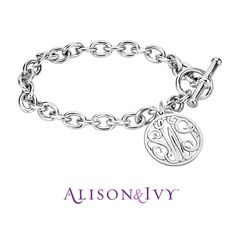 Alison & Ivy // Classic Bordered Monogram Toggle Bracelet, 20mm.