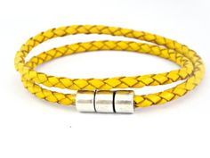 Double wrapped yellow braided leather by TyssHandmadeJewelry, $17.90
