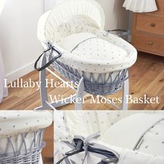 ♥ Made here in the UK the soft Lullaby Hearts cotton fabric is the ultimate in comfort & style for your baby ♥ http://www.clair-de-lune.co.uk/buy/lullaby-hearts-grey-wicker-moses-basket_739.htm