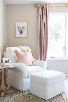 White Furniture Nursery Ideas | Blush Curtains Nursery Window Treatments | White Furniture Nursery Girl | Safari Nursery Girl Pink | Girly Nursery Themes #nursery #nurserydecor #pinkandgold  #babyroom #babygirl