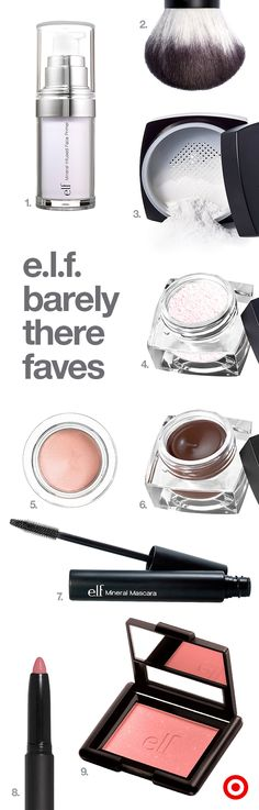 Get a natural, everyday look with these 9 makeup must-haves from e.l.f.: mineral-infused face primer to help apply makeup evenly, a kabuki brush and high definition powder for a flawless complexion, under eye setting powder to reduce dark circles, smudge pot eyeshadow, studio cream eyeliner and mineral mascara to draw attention to your eyes, and matte lip color and blush to finish the look with a hint of fresh color.