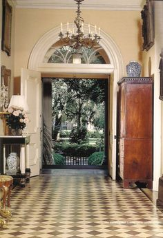 Mercer House Central Hallway, Savannah #Savannahgeorgia #southernliving