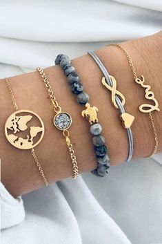 Sweet Turtle World Map Marble Bracelet Set # Sweet . Cute Turtle World Map marble bracelet set # sweet Cute Jewelry, Diy Jewelry, Gold Jewelry, Jewelery, Jewelry Accessories, Women Jewelry, Fashion Jewelry, Jewelry Making, Bohemian Jewelry