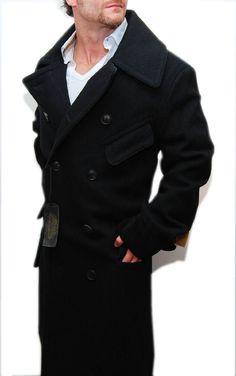 9094d7887 Polo Ralph Lauren Double RL RRL Mens Full Length Jacket Black Wool Pea Coat  XL Pea