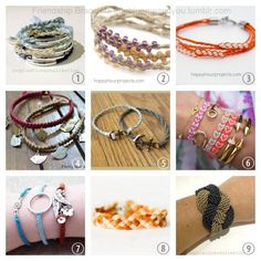 DIYs for Creatives — Roundup DIY 9 Friendship Bracelet Tutorials. Friendship Bracelets With Beads, Friendship Bracelets Tutorial, Diy Bracelets Easy, Wish Bracelets, Bracelet Tutorial, Beaded Bracelets, Handmade Bracelets, Bracelet Making, Jewelry Making