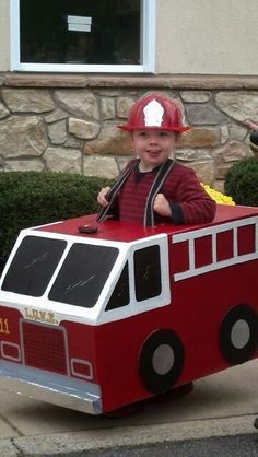 Most kids want to be a fireman for Halloween.  Mine wants to be a fireTRUCK!!!  Cardboard, duct tape, paint and lots of time ;-)
