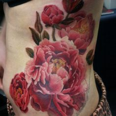 Red Peony tattoo