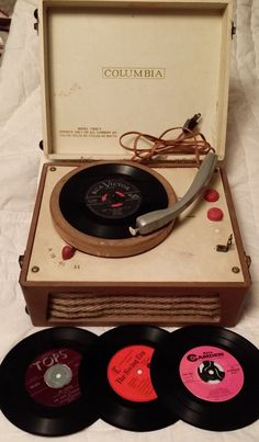 Columbia Portable Record Player record by colonialcrafts, Radio Record Player, Portable Record Player, Record Players, Vinyl Music, Vinyl Records, 45 Records, Lps, Retro, Columbia