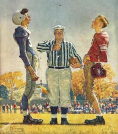 Norman Rockwell - Coin Toss - art prints and posters #football #posterart